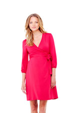 Ingrid & Isabel 3/4 Sleeve Wrap Maternity Dress (Berry) by Ingrid & Isabel