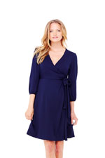 Ingrid & Isabel 3/4 Sleeve Wrap Maternity Dress (True Navy) by Ingrid & Isabel