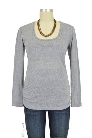 Bun Tri-Blend Cozy  Long Sleeve Tee (Heather Grey) by Bun Maternity & Nursing