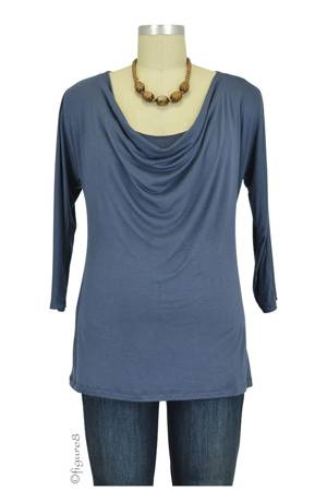 Layla Cowl Neck 3/4 Sleeve Nursing Top (Gray) by Milkstars