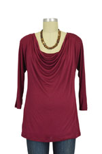Layla Cowl Neck 3/4 Sleeve Nursing Top (Burgundy) by Milkstars