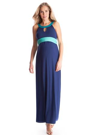 Seraphine Audra Colourblock Maxi Maternity Dress (Blue) by Seraphine