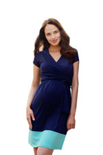 Seraphine Enja Capsleeve Colorblock Nursing Dress (Navy & Aqua) by Seraphine