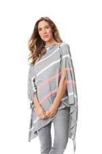 Seraphine Madison Striped Nursing Shawl (Grey & Coral) by Seraphine