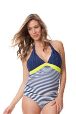 Seraphine Marbella Colorblock Maternity Tankini (Stripes with Lime) by Seraphine