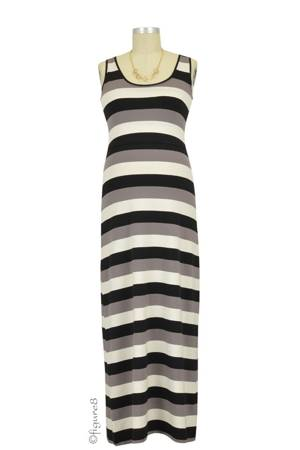 Boob Design Cameron Nursing Maxi Dress (Multi-Stripe Black) by Boob Design