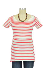 Boob Designs Simone Organic Short Sleeve Nursing Top (Red & Off White Stripes) by Boob