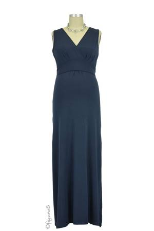 Boob Design Sophia Maxi Nursing Dress (Ink Blue) by Boob Design