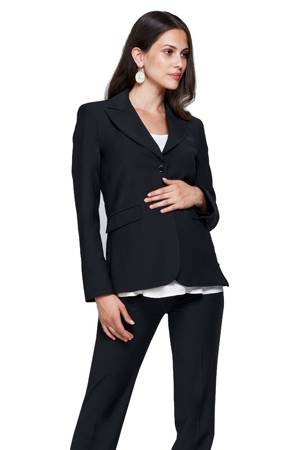 Slacks & Co. Zurich Maternity Career Jacket with Side Zippers (Black) by Slacks & Co