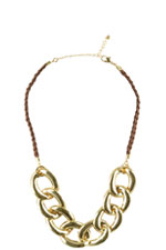 Sienna Mini Chain Braided Necklace (Brown and Gold) by Jewelry Accessories