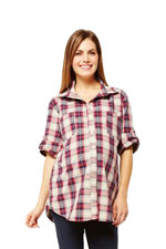 Boyfriend Plaid Maternity Shirt (Red Plaid) by NOM