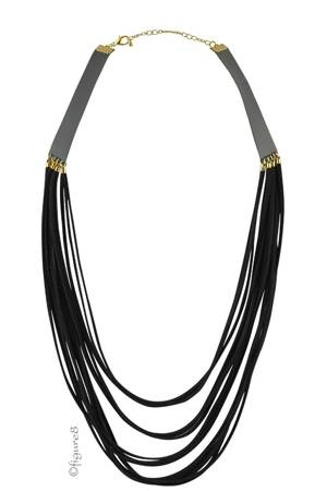 Black Rope Pleather Necklace (Black) by Jewelry Accessories