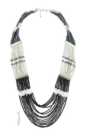 Cleopatra Necklace (Black/Pearl/Silver) by Jewelry Accessories