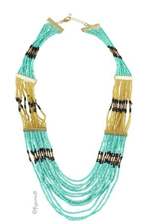 Cleopatra Necklace (Black/Mint/Gold) by Jewelry Accessories
