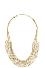 Lanyard Woven White & Gold Necklace (White/Gold) by Jewelry Accessories