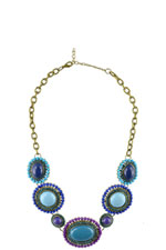 Bejeweled Pendant Necklace (Purple/Blue) by Jewelry Accessories