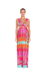 Tatiana Maxi Maternity Dress (Orange and Fuchsia Print) by Olian