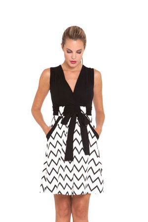 Cece Maternity Dress (Ivory Black Chevron Print) by Olian