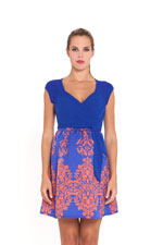 Arial Maternity Dress (Blue and Orange Print) by Olian