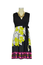 Peyton Maternity Dress (Black-Ivory-Lime Print) by Olian