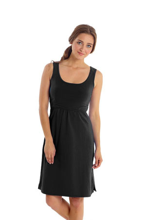 Avery Organic Cotton Scoop Neck Nursing Dress (Black) by Mothers en vogue