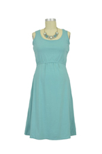 Avery Organic Cotton Scoop Neck Nursing Dress (Teal Blue) by MEV