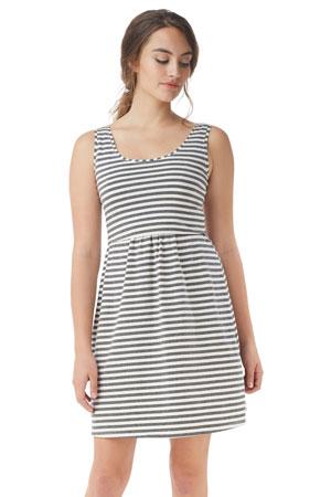 bfa02f62873 Avery Organic Cotton Scoop Neck Nursing Dress (Stripes White Grey) by  Mothers en Vogue