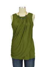 Athena Drape Sleeveless Nursing Top (Olive) by MEV