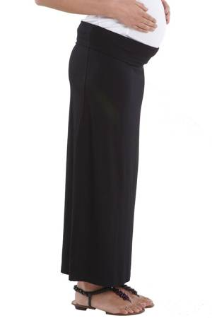 Martina Slim Fit Maxi Jersey Maternity Skirt (Black) by MEV