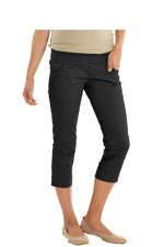 Cotton Sateen Pencil Maternity Capris (Black) by MEV