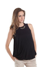 Milla Bubble Hem NursingTank (Black) by MEV