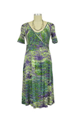 Renee Short Sleeve Wrap Nursing Dress (Forest Print) by MEV