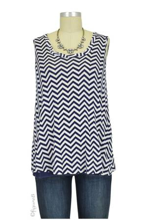 Evie Layered Zig-Zag Nursing Top (Navy Zig Zag) by Maternal America