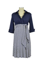 Colleen Front Tie Maternity Shirt Dress (Navy & Navy Zig Zag) by Maternal America