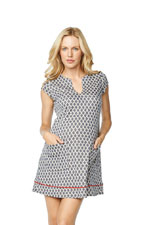 Francine Maternity Shift Dress with Piping (Red/Blue Mosaic) by Maternal America