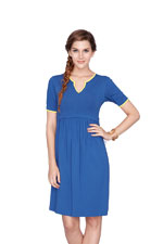 Sachi Nursing Dress (Blue with Yellow Piping) by Dote