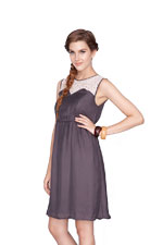 Kaya Lace Trim  Nursing Dress (Grey) by Dote