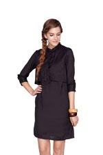 Bobbie Nursing Shirtdress (Black) by Dote