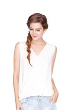 Alba Twist V-Neck Nursing Top (Cream) by Dote