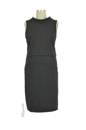 Hepburn Ponte Nursing Dress (Charcoal) by Sophie & Eve
