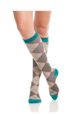 Vim & Vigr Graduated Compression Socks - Cotton Collection (Brown & Teal) by Vim & Vigr