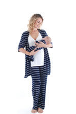 Cindy 4-pc. Nursing PJ Set with Gift Bag (Navy) by Everly Grey