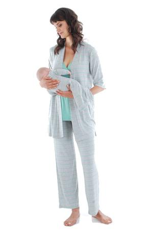 Cindy 4-pc. Nursing PJ Set with Gift Bag (Sea Foam) by Everly Grey