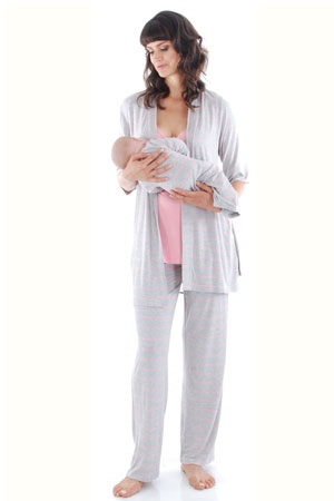 Cindy 4-pc. Nursing PJ Set with Gift Bag (Rose Bud) by Everly Grey