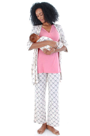 Cindy 4-pc. Nursing PJ Set with Gift Bag (Duchess) by Everly Grey
