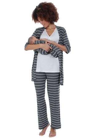 Cindy 4-pc. Nursing PJ Set with Gift Bag (Charcoal Stripes) by Everly Grey