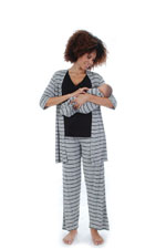 Cindy 4-pc. Nursing PJ Set with Gift Bag (Heather Grey Stripes) by Everly Grey