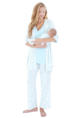 Cindy 4-pc. Nursing PJ Set with Gift Bag (Chantilly) by Everly Grey