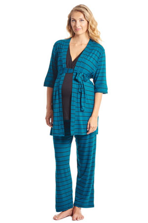 Cindy 4-pc. Nursing PJ Set with Gift Bag (Teal Stripe) by Everly Grey