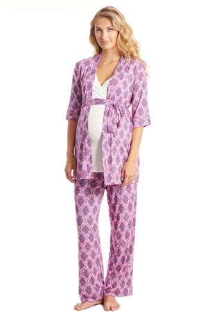 Cindy 4-pc. Nursing PJ Set with Gift Bag (India Floral) by Everly Grey